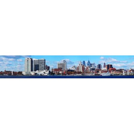 Panoramic view of a city at the waterfront Delaware River Philadelphia Pennsylvania USA Canvas Art - Panoramic Images (22 x 4) - Party City Delaware