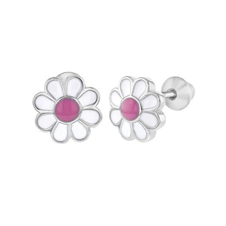 925 Sterling Silver Pink Enamel Daisy Flower Earrings Screw Back Baby -