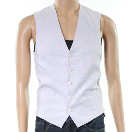 INC White Mens Small Slim Fit Seersucker Textured Stripe Vest