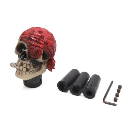 Red Beige Skull Head Shaped Manual Stick Gear Shift Knob Lever Shifter for Car