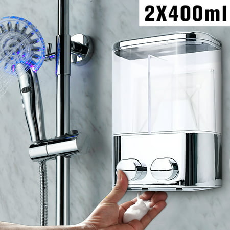 - Wall Mount 400ml Double Liquid Soap Shampoo Dispenser Shower Lotion Bottle Home