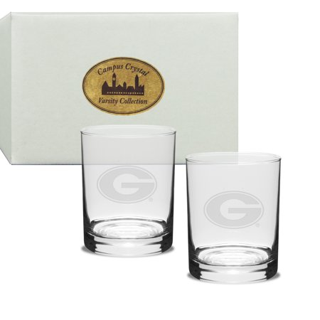 Georgia Bulldogs Deep Etched Double Old Fashion Glass Set of (Etch Glass Antique)