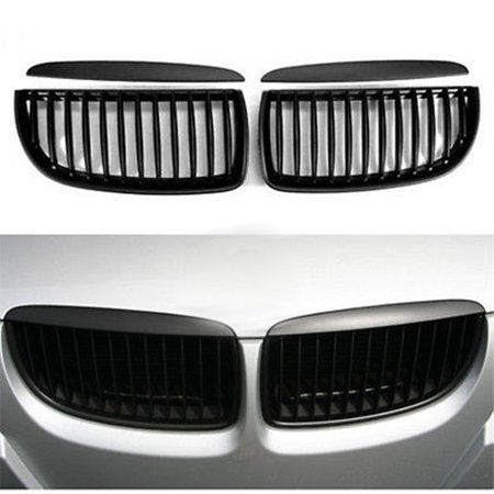 2Pcs Car Auto Vehicle Kidney Front Grill Grilles Matte Black For E90 E91 M3 3 Series 4Door 2005-2008 ()