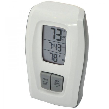 Image of AcuRite Wireless Thermometer Clock, White