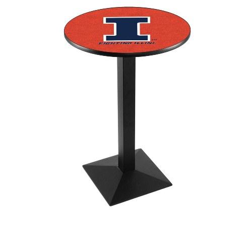 NCAA Pub Table by Holland Bar Stool, Black - Fighting Illini, 36'' - L217