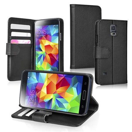 Insten Black Wallet Pu Leather Flip Folio Cover Stand Case With Card Holder For Samsung Galaxy S5 S V