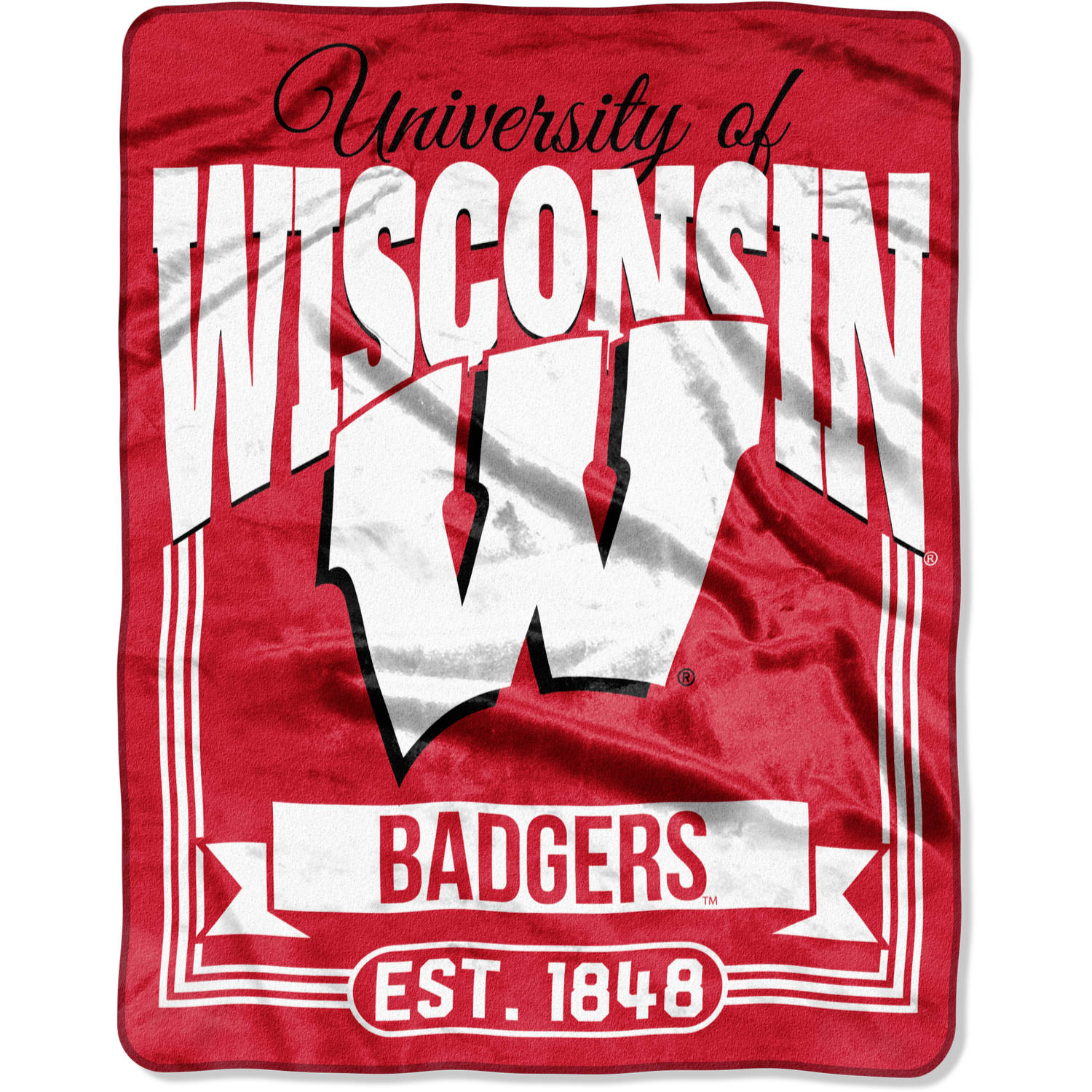 """NCAA Wisconsin Badgers """"Traction"""" 55"""" x 70"""" Silk Touch Throw"""