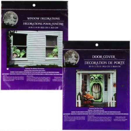 Bundle: 1 Creepy Green Monster Door Cover and 2 Evil Goblins Window Covers Scary Haunted House Set of Halloween Decorations By Greenbrier International Ship from US](Scary Halloween Door Covers)