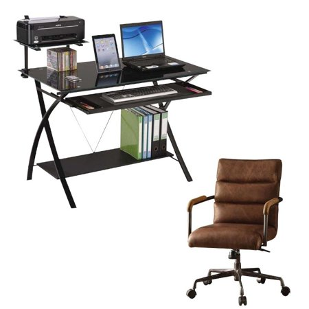 Enjoyable Erma 2 Piece Computer Desk And Rustic Leather Swivel Office Chair Set Ibusinesslaw Wood Chair Design Ideas Ibusinesslaworg
