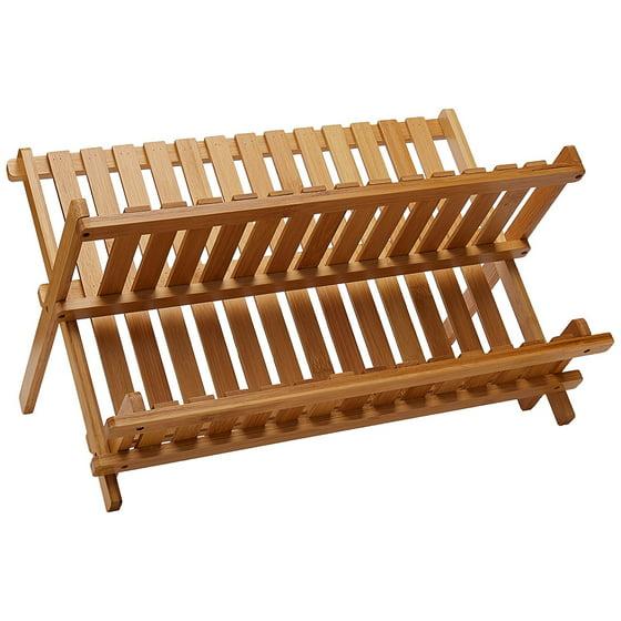 Lipper International Bamboo Folding Dishrack - Walmart.com