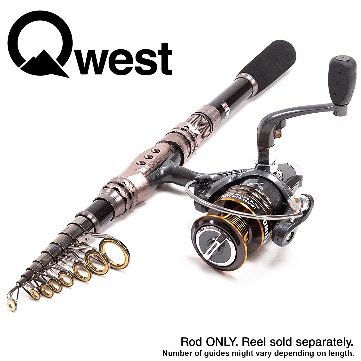 Qwest Telescopic Spinning Fishing Rod Carb Reel Bait Lure Line by Qwest