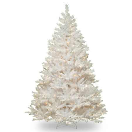 National Tree 7ft Pre-Lit Winchester White Pine Hinged Artificial Christmas Tree with Silver Glitter and 450 Clear Lights - White ()