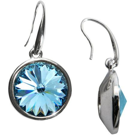 Pavilion Blue Crystal Dangle Earrings Made From Swarovski Elements