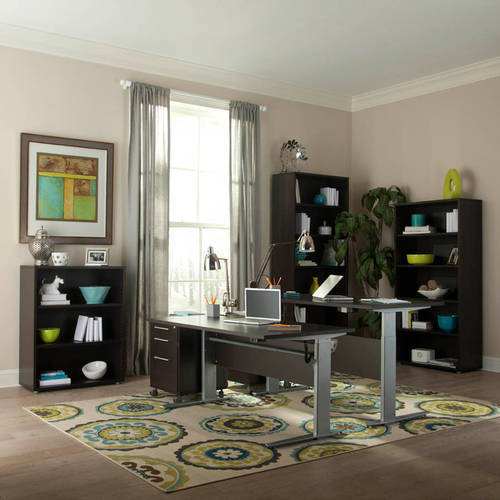 Tvilum Pierce Height-Adjustable Desk, Espresso and Silver