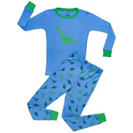 Leveret Dinosaur Blue 2 Piece Pajama Set 100% Cotton 2 Years