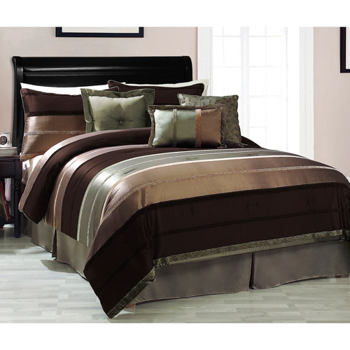 Victoria Classics Roman Stripe Brown/Green 7-Piece Bedding Comforter Set
