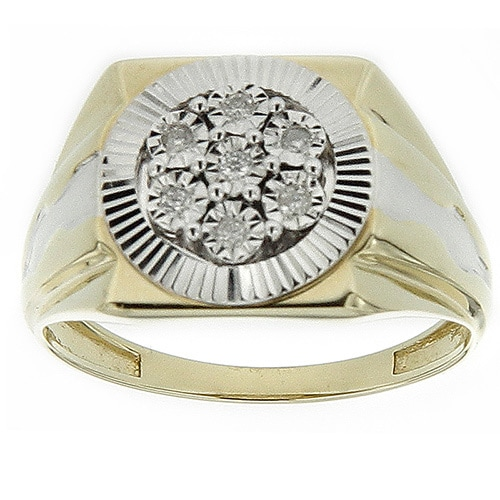 10K Yellow Gold Men's 1/10ct TDW Diamond Square Ring (GH- SI3-I1) Size 10