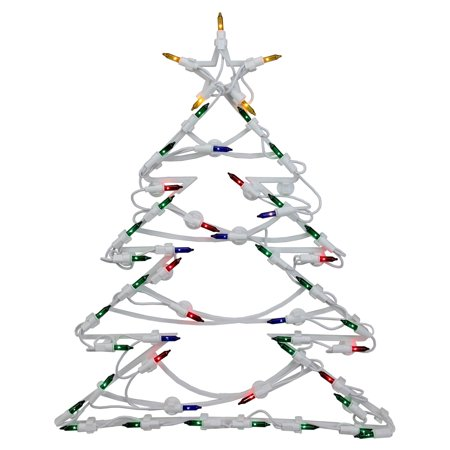 Northlight Lighted Tree with Star Window Silhouette Christmas Decoration - Set of 4 (Rock Star Decorations)
