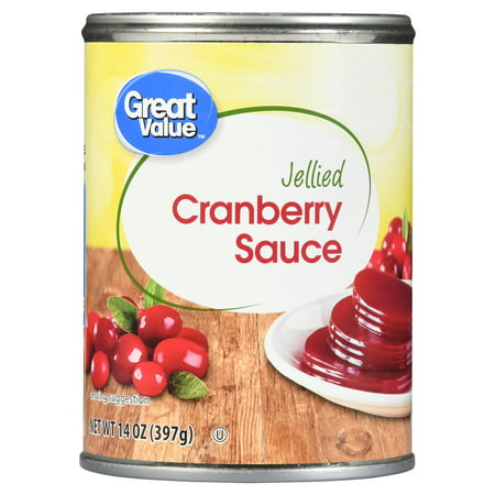 (4 Pack) Great Value Jellied Cranberry Sauce, 14 oz