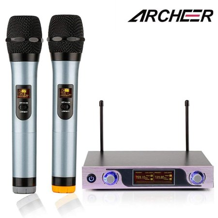 ARCHEER VHF Wireless Microphone Receiver System with Adjustable Volume Control ,2 Handheld LCD Display Cordless Microphones for outdoor wedding, Conference, Karaoke, Evening Party