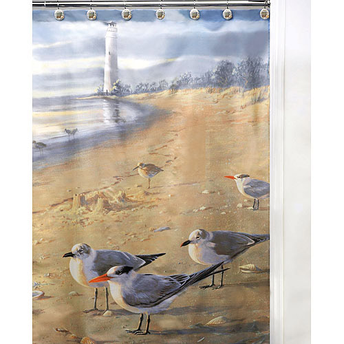 At The Beach Seagulls 13 Piece Shower Curtain and Hooks Set, Beige