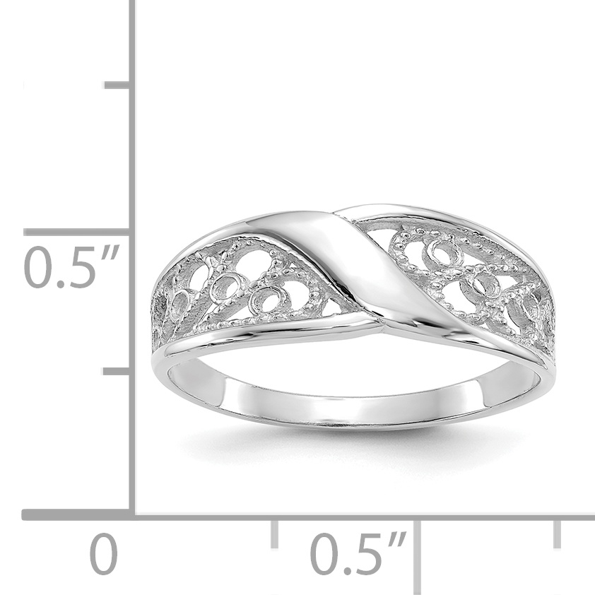 14k White Gold Filigree Band Ring Size 6.00 Fine Jewelry Gifts For Women For Her - image 1 de 2