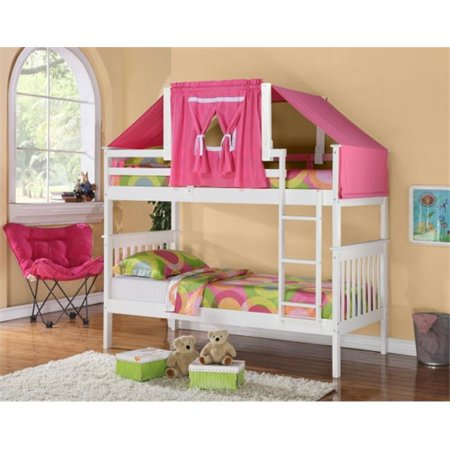 Pivot Direct PD-120-3W-755W-P Twin Size Mission Bunk Bed with Tent Kit - White & Pink
