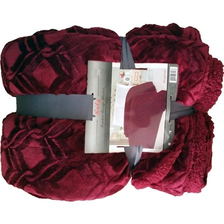 Fancy Collection Queen/king Size Embossed Blanket Sumptuously Soft Plush Sollid Burgundy with Sherpa Revirsable Winter Blankets Bedspread Super Soft New Ruby Blanket