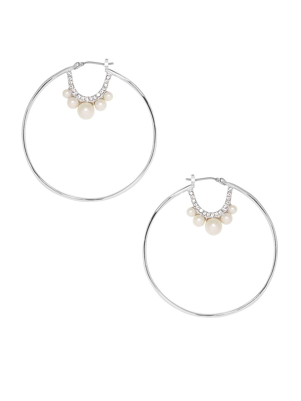 Hoops Keys Items Crystal & Pearl Hoop Earrings