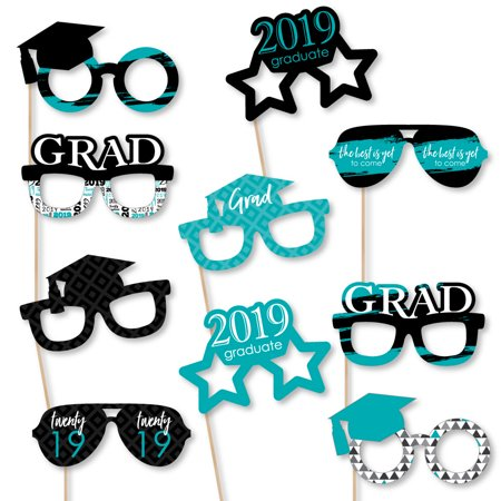 Teal Grad - Best is Yet to Come - Glasses - Turquoise 2019 Paper Card Stock Graduation Photo Booth Props Kit - 10