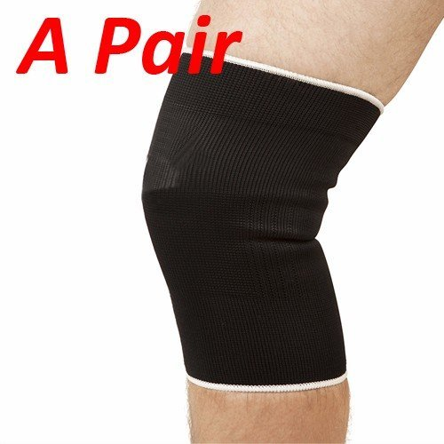 Wideskall® A Pair Black Elastic Knee Support Compression Sleeves for Pain Relief, Large