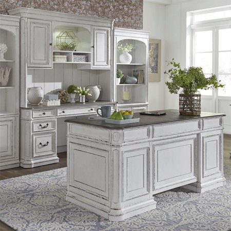 Antique White Finish Wood Executive Desk 5Pcs 244-HOJ-CDS Liberty Furniture