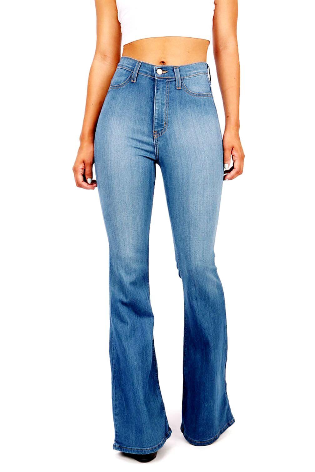 Jack David Vintage High Waist Womens Juniors 70s Trendy Slim Fit Asymmetric Tassel Slit Flared Bell Bottom Denim Jeans Pants