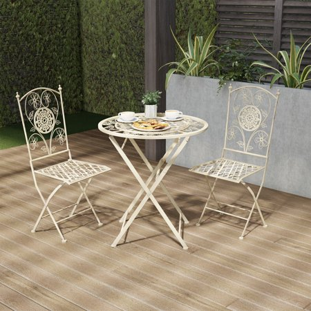 Folding Bistro Set – 3PC Table and Chairs with Lattice & Flower Design – Outdoor Furniture for Garden, Patio, Porch by Lavish Home (Antique White) ()