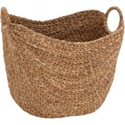 Decmode Woven Seagr Basket With Braided Handles Jute Brown