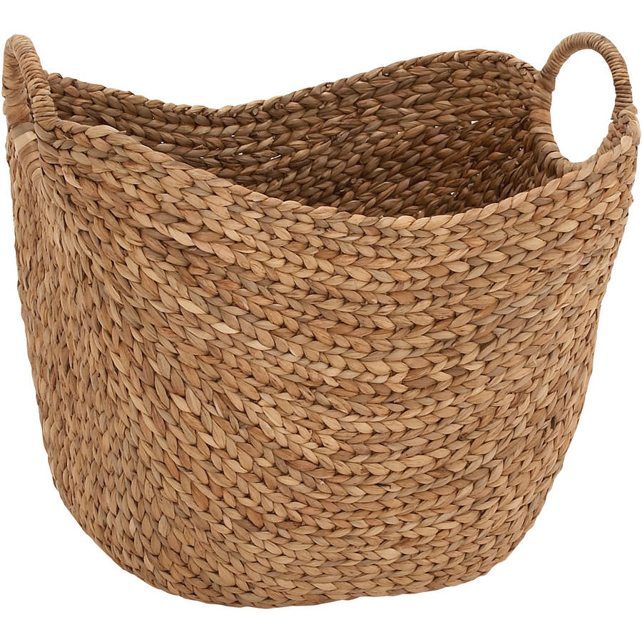 DecMode Woven Seagrass Basket With Braided Handles, Jute Brown
