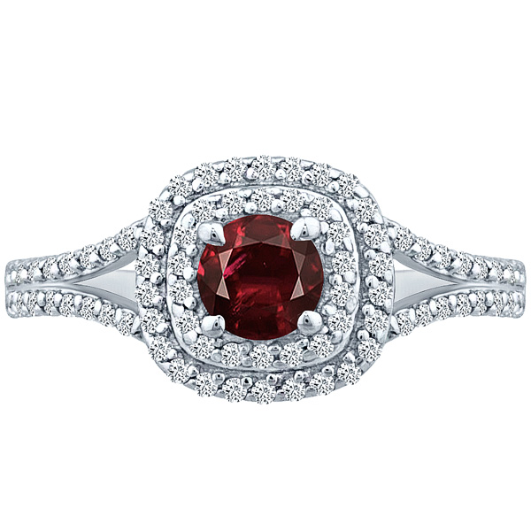 Ring Double Halo Round Garnet & Natural Diamond 1.25 tcw Solid 14k White Gold