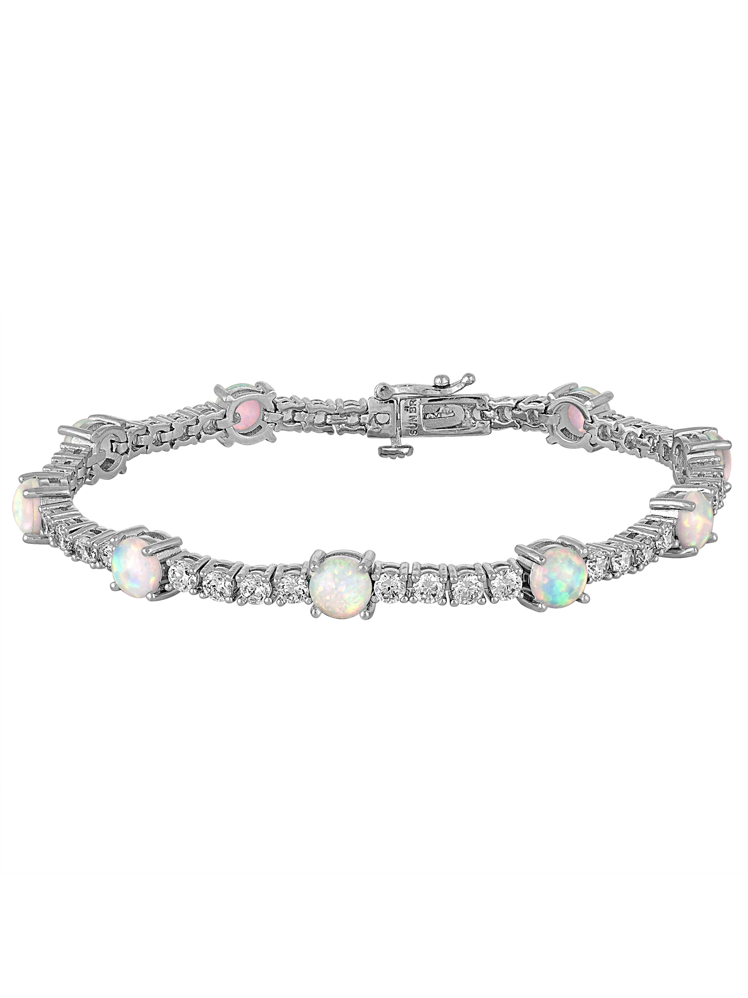Gemspirations Sterling Silver Plated Simulated Opal with CZ Accents Tennis Bracelet, 7.25""