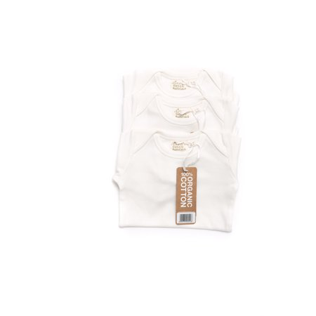 Little Green Radicals Unisex Baby 3 Pack Organic Long Sleeve Bodysuit, 9-12M (Natural)