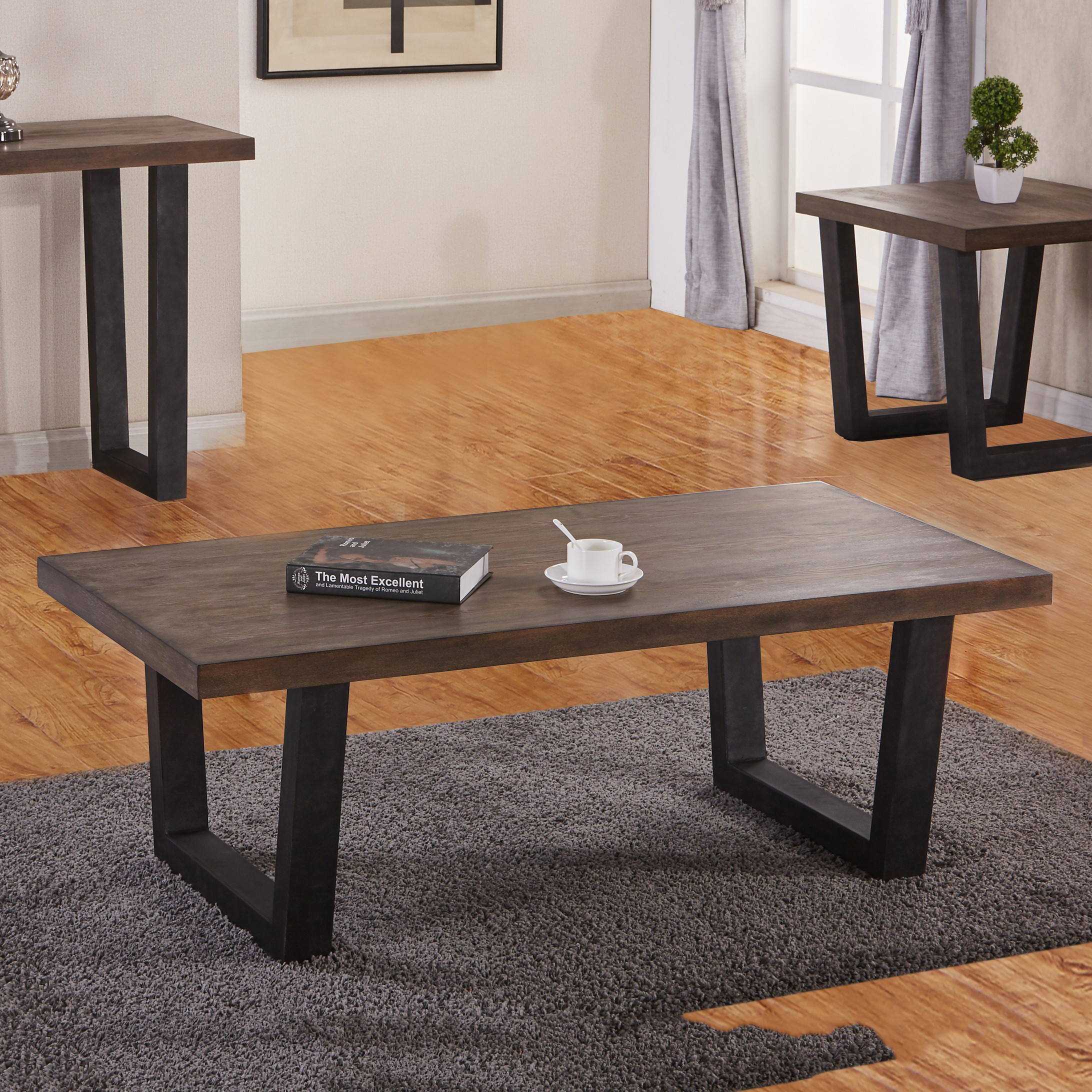 Best Quality Furniture Rustic Accent Tables w/ Metal legs