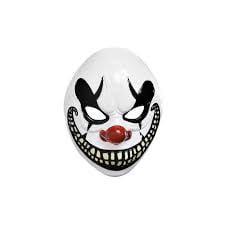 Amscan Party Adults Halloween Freak Show Clown Mask, White, 9.5