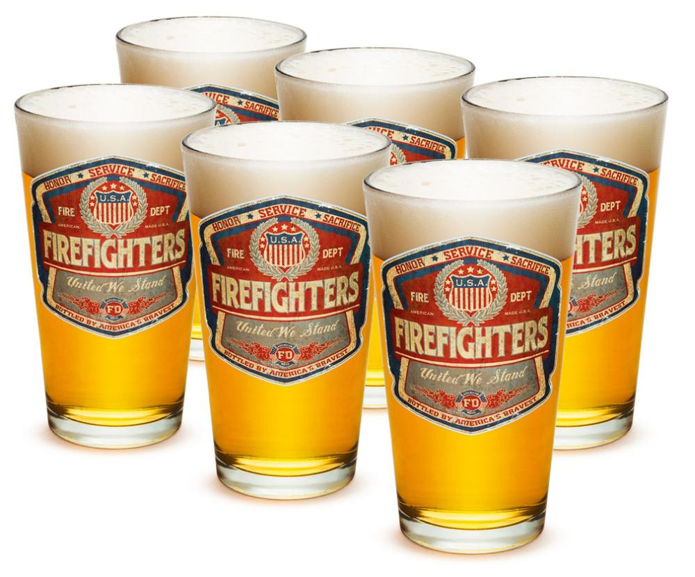Fire 16 oz. Pint Glass Denim Fade Beer Label (Case of 12) by Erazorbits
