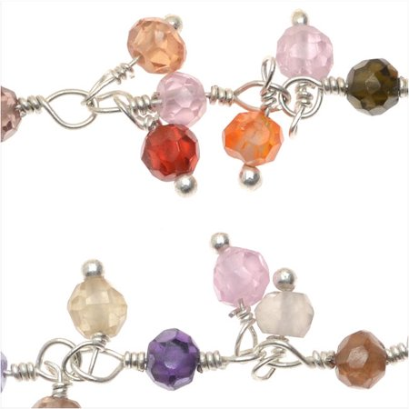 Sterling Silver Wire Wrapped Gemstone Chain, 3mm Micro Faceted Drops, 1 Inch, Multi