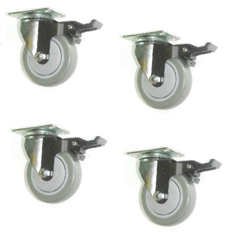 "(Clearance) Four Swivel Plate Casters with 4"" Gray Poly Wheel & Brakes 1000# Cap"