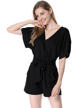 Women's Hot Short Sleeve Romper Black (Size XL / 16)