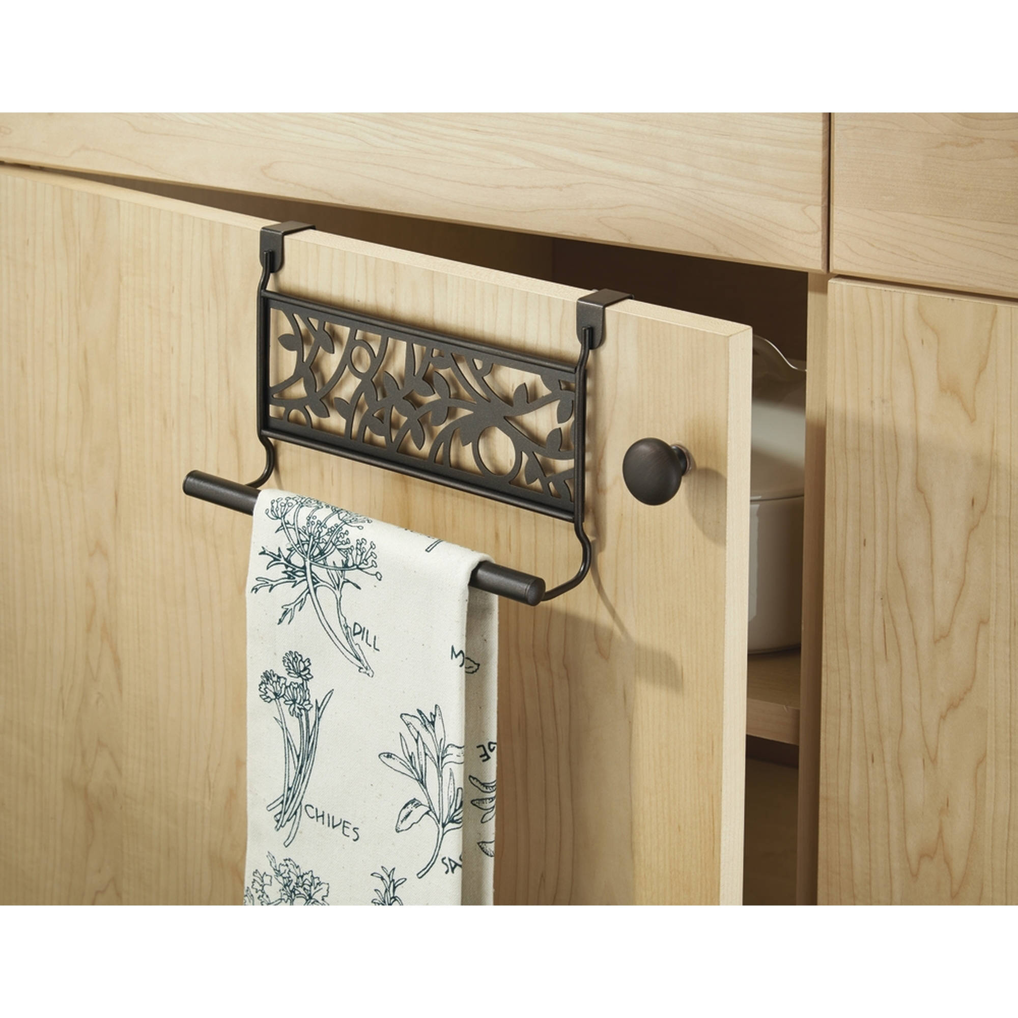 InterDesign Vine Over-the-Cabinet Kitchen Dish Towel Bar Holder, Bronze