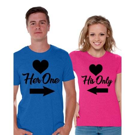 Awkward Styles His Only and Her One T shirt for Couples Her One Tshirt for Men His Only Tshirt for Women Cute Matching The One Shirts for Couple Valentine's Day Gifts Couple Anniversary Outfit (His And Hers T Shirts)