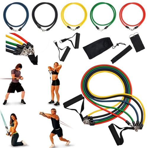 Insten 11-piece set Resistance Exercise Stretch Bands Fitness Flexible Tube for Gym Yoga Home Travel Workout