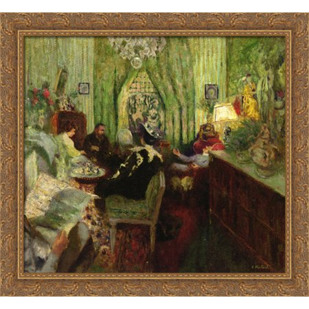 The Salon of Madame Aron 30x28 Large Gold Ornate Wood Framed Canvas Art by Edouard Vuillard (Saloon Madame)