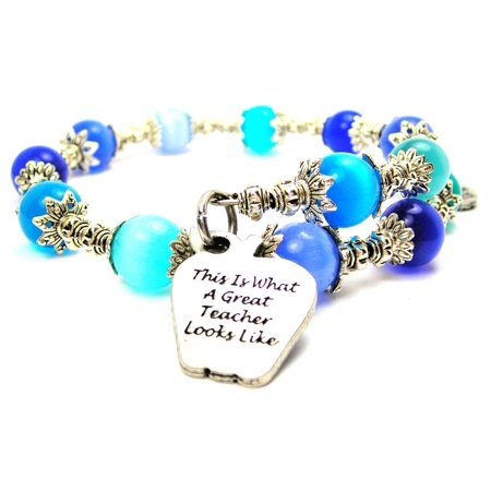 Chubby Chico Charms This Is What A Great Teacher Looks Like Cat's Eye Wrap Charm Bracelet in Sapphire Blue and Aqua Blue